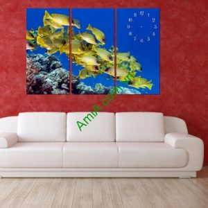 Bộ tranh đồng hồ treo tường phòng khách Đàn Cá vàng-01