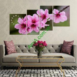 Bộ tranh ghép phòng khách nghệ thuật hoa Đào Amia 211-01