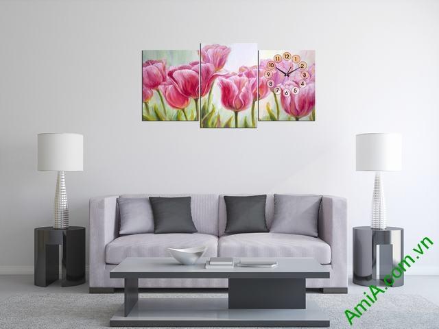 Đồng hồ tranh trang trí phòng khách hoa Tulip Amia 300-01
