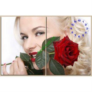 Đồng hồ tranh treo tường cô gái và hoa hồng amia 133-00