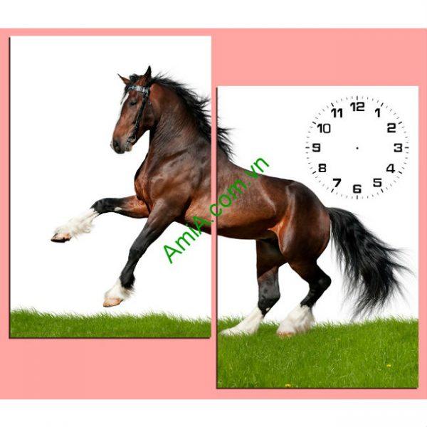 Đồng hồ tranh treo tường hình ngựa chiến Amia 147-00