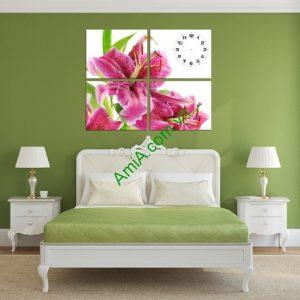 Đồng hồ tranh treo tường phòng khách, phòng ngủ hoa Ly Amia 190-01