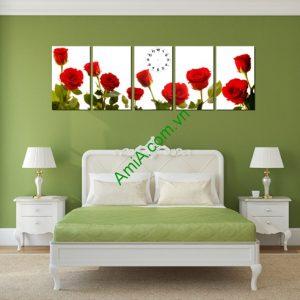 Tranh Vườn Hồng trang trí phòng khách, phòng ngủ Amia 215-02