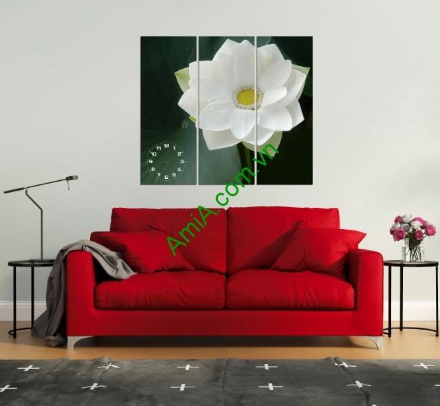 Tranh đồng hồ hoa Sen nghệ thuật phòng khách amia 125-01