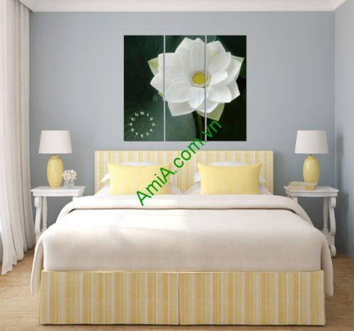Tranh đồng hồ hoa Sen nghệ thuật phòng khách amia 125-02