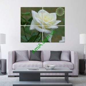 Tranh đồng hồ treo tường bông hồng trắng amia 134-01