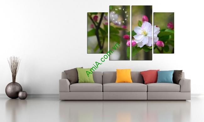 Tranh ghép bộ trang trí phòng khách hoa đào trắng Amia 213-01