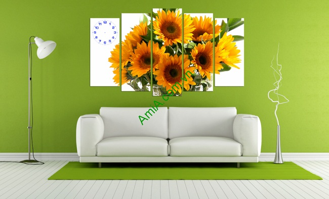 Tranh ghép bộ trang trí phòng khách hoa hướng dương-01