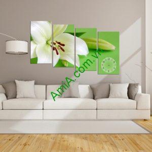 Tranh ghép bộ treo tường phòng khách ly trắng Amia 121-01