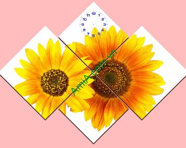 Tranh ghép đồng hồ hoa hướng dương Amia 143