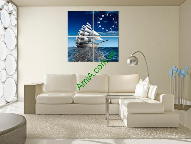 Tranh ghép đồng hồ phòng khách bộ thuyền buồm-01