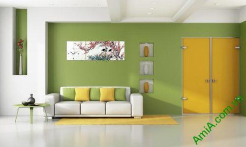 Tranh hoa đào trang trí phòng khách amia 320-01