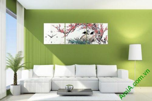 Tranh hoa đào trang trí phòng khách amia 320-02