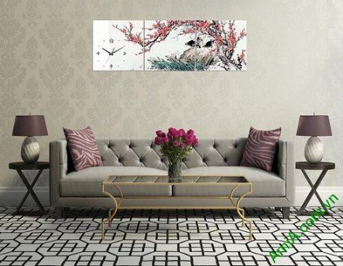 Tranh hoa đào trang trí phòng khách amia 320-03