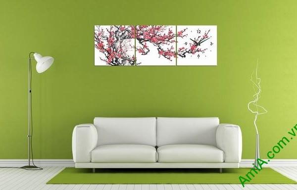 Tranh hoa Đào Xuân trang trí phòng khách dịp Tết Amia 299-02