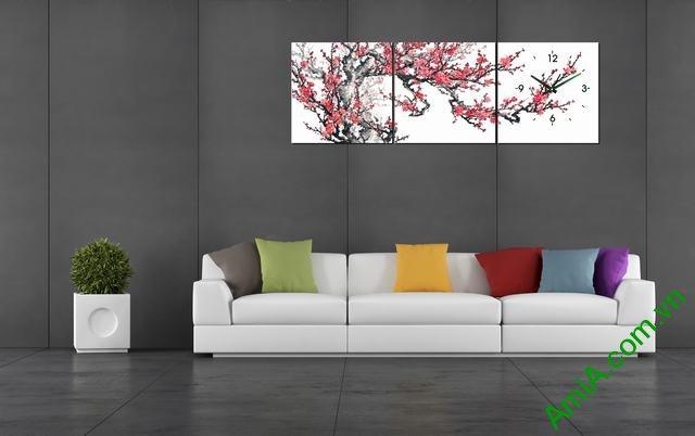 Tranh hoa Đào Xuân trang trí phòng khách dịp Tết Amia 299-04