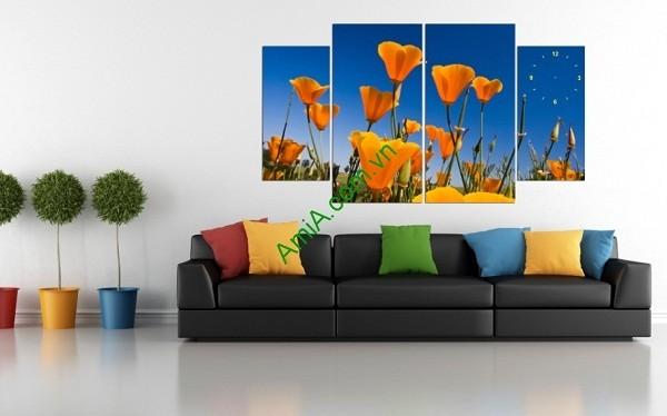 Tranh trang trí hoa lá cho phòng khách hiện đại-01