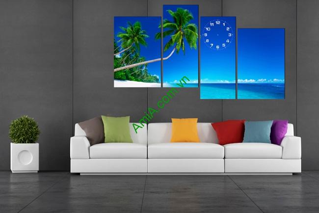 Tranh trang trí phòng khách Biển Xanh Mát Amia 177-01