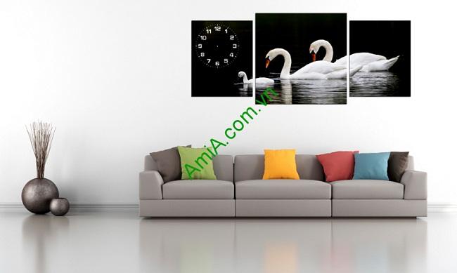 Tranh trang trí phòng khách Gia đình Thiên Nga Amia 226-01