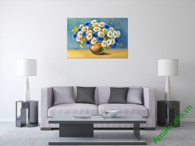 Tranh trang trí phòng khách bình hoa một tấm amia 317-01