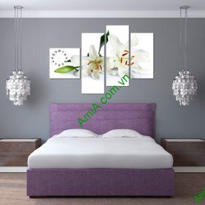 Tranh đồng hồ hoa Ly trang trí phòng khách amia 157-02