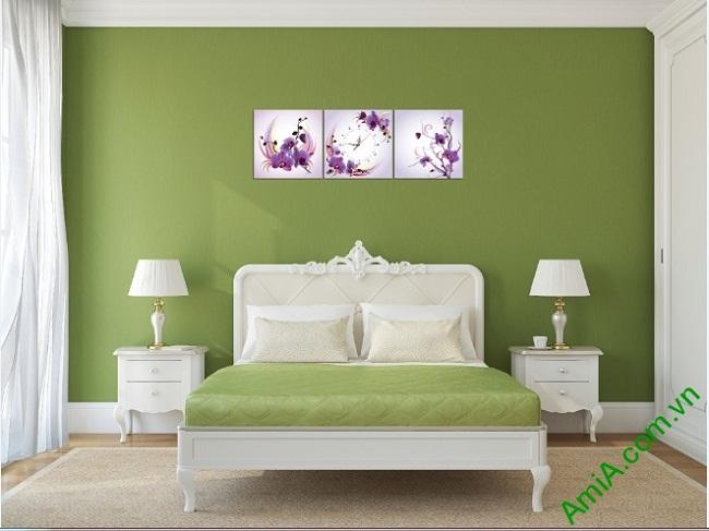 Đồng hồ tranh treo phòng khách, phòng ngủ hoa Phong Lan-01