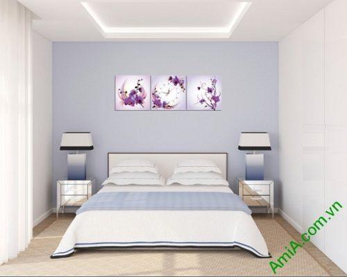Đồng hồ tranh treo phòng khách, phòng ngủ hoa Phong Lan-02