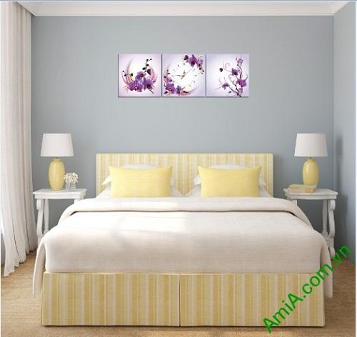 Đồng hồ tranh treo phòng khách, phòng ngủ hoa Phong Lan-03