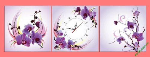 Đồng hồ tranh treo phòng khách, phòng ngủ hoa Phong Lan