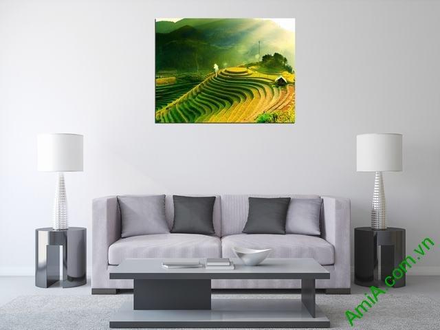 Hình ảnh tranh phong cảnh quê hương ruộng bậc thang một tấm