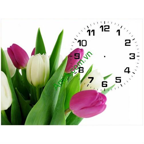 Tranh đồng hồ để bàn hiện đại hoa Tulip Amia 105-00