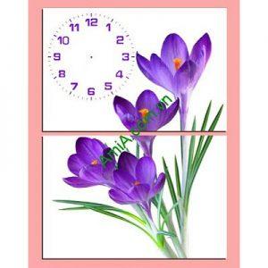 Tranh đồng hồ hoa Tím ghép nghệ thuật kiểu đứng Amia 235-00