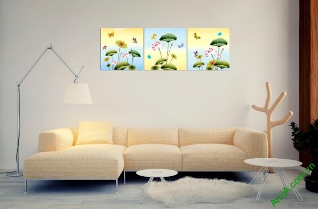 Tranh ghép bộ hoa Sen trang trí phòng khách Amia 408-01