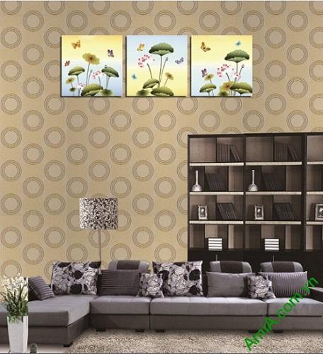 Tranh ghép bộ hoa Sen trang trí phòng khách Amia 408-02
