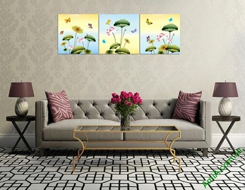 Tranh ghép bộ hoa Sen trang trí phòng khách Amia 408-03