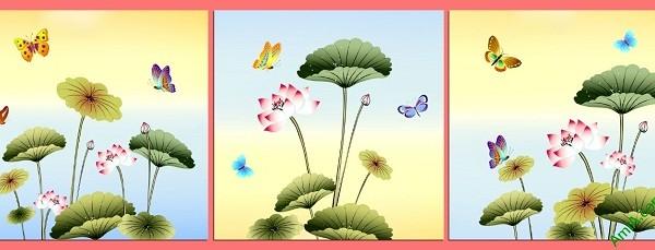 Tranh ghép bộ hoa Sen trang trí phòng khách Amia 408