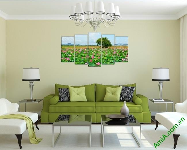 Tranh ghép bộ trang trí phòng khách Đầm Sen Amia 402-01