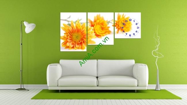Tranh ghép nghệ thuật đồng hồ hoa Cúc bộ 3 tấm Amia 236-01