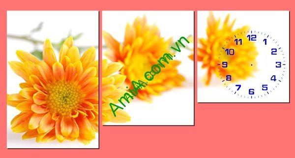 Tranh ghép nghệ thuật đồng hồ hoa Cúc bộ 3 tấm Amia 236