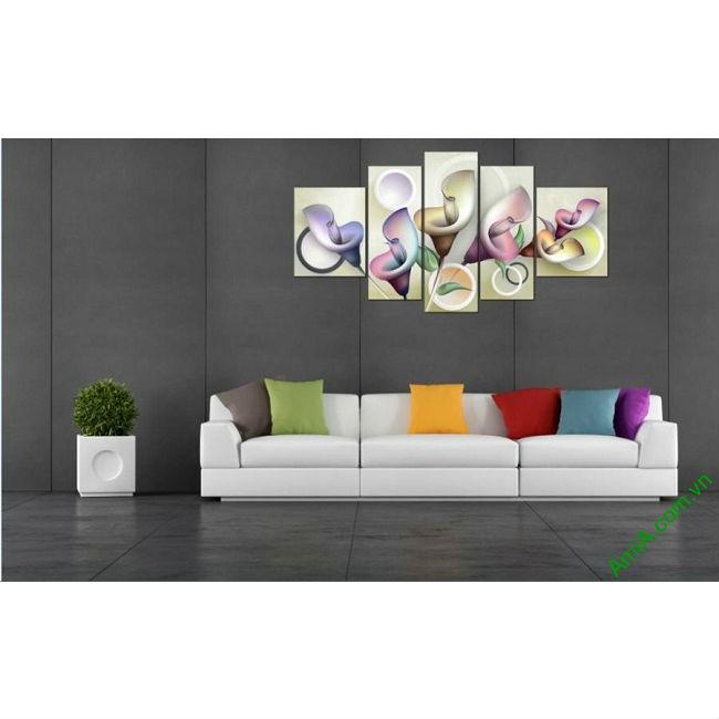 Tranh ghép nghệ thuật phòng khách Hoa Zum 3D bộ 5 tấm-00