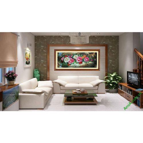 Tranh hoa Mẫu Đơn trang trí phòng khách hiện đại Amia 421-00