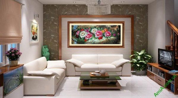 Tranh hoa Mẫu Đơn trang trí phòng khách hiện đại Amia 421-01