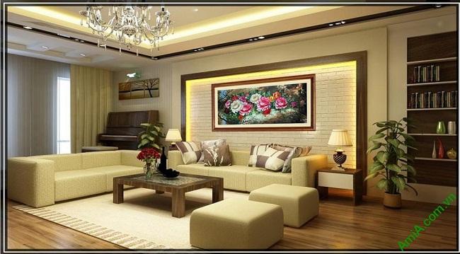 Tranh hoa Mẫu Đơn trang trí phòng khách hiện đại Amia 421-02