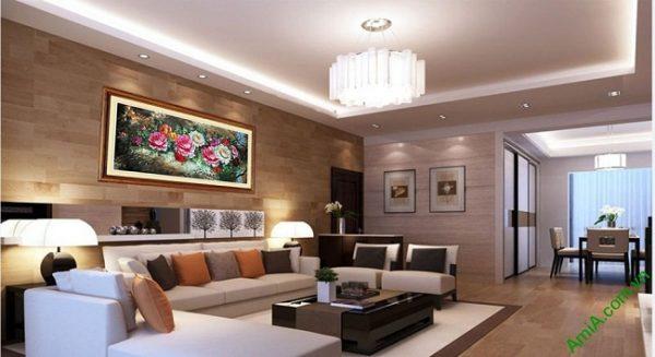 Tranh hoa Mẫu Đơn trang trí phòng khách hiện đại Amia 421-03