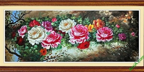 Tranh hoa Mẫu Đơn trang trí phòng khách hiện đại Amia 421