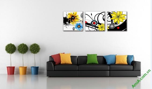 Tranh hoa nghệ thuật treo phòng khách, phòng ngủ Amia 413-01