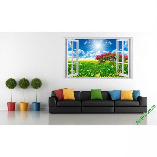 Tranh phong cảnh trang trí phòng khách Cửa sổ 3D-00