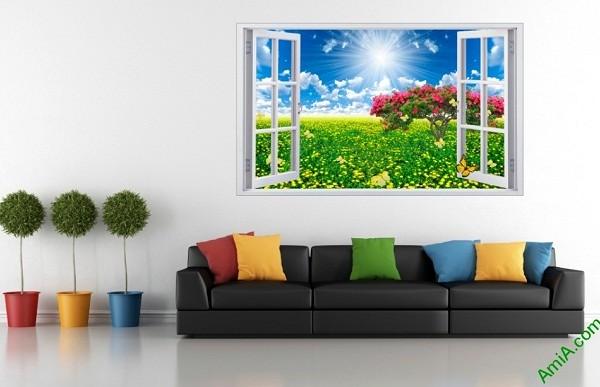 Tranh phong cảnh trang trí phòng khách Cửa sổ 3D-01