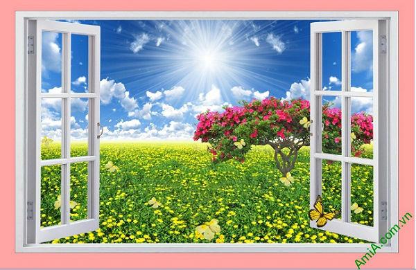 Tranh phong cảnh trang trí phòng khách Cửa sổ 3D