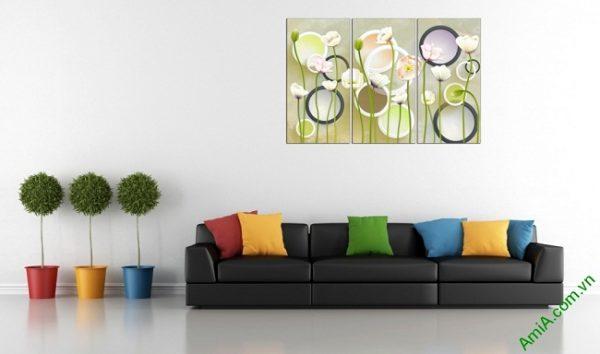 Tranh trang trí hoa lá Vector cho phòng khách Amia 416-01